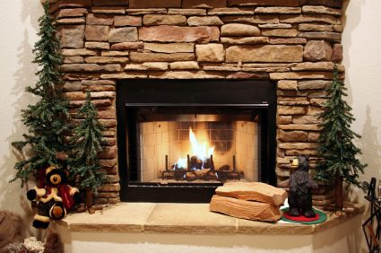 Stone fireplace by AAP Construction